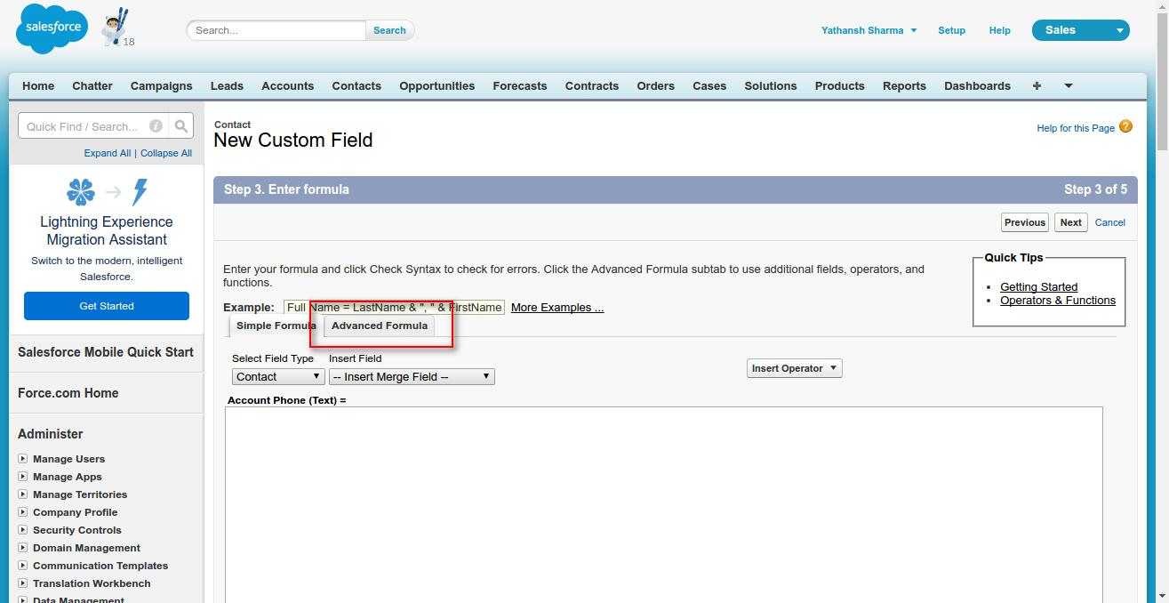 How to use Formula Field in Salesforce to set the value from