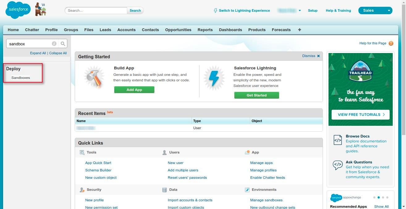 Create a sandbox of salesforce org wedgecommerce for Salesforce sandbox template